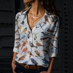 Backyard Bird Of North America Cotton And Linen Casual Shirt CH030209