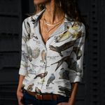 Hawks Of North America Cotton And Linen Casual Shirt CH030211