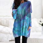 Blue Nautilus Shell Pocket Long Top Women Blouse CH030204