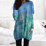 Dolphin Pocket Long Top Women Blouse CH030205