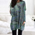 Whale Pocket Long Top Women Blouse CH030208