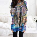 Hippie Pocket Long Top Women Blouse CH030212