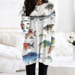Striped Mullet, Great Barracuda - Marine Life Pocket Long Top Women Blouse KH010210