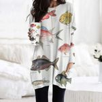 Whalefish, Pinecone Fish - Marine Life Pocket Long Top Women Blouse KH010212