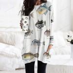 Clown Triggerfish, Queen Triggerfish - Marine Life Pocket Long Top Women Blouse KH010213