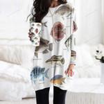 Discus Fish, Kelp Perch - Marine Life Pocket Long Top Women Blouse KH010218