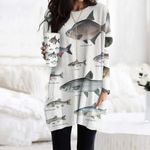 Dace, Bream - Marine Life Pocket Long Top Women Blouse KH010220