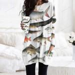 Tiger Barb, Electric Eel - Marine Life Pocket Long Top Women Blouse KH010221