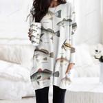 White Seabass, Black Drum - Marine Life Pocket Long Top Women Blouse KH010222