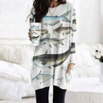Blue Catfish, Tadpole Madtom - Marine Life Pocket Long Top Women Blouse KH010224