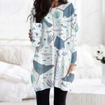 Ray - Marine Life Pocket Long Top Women Blouse KH010228