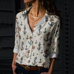Nautical Anchors - Marine Life Cotton And Linen Casual Shirt KH030204