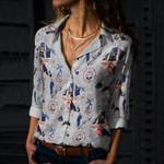 American Coast - Lost At Sea - Marine Life Cotton And Linen Casual Shirt KH030205