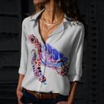 Sea Turtle Cotton And Linen Casual Shirt QA030202