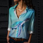 Sea Turtle Cotton And Linen Casual Shirt QA030204