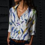 Blue Parrots Cotton And Linen Casual Shirt QA030208