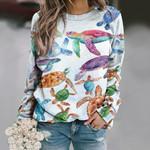 Colorful Sea Turtles Unisex All Over Print Cotton Sweatshirt QA030201