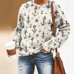 Nautical Anchors - Marine Life Unisex All Over Print Cotton Sweatshirt KH030204