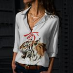Tiger Cotton And Linen Casual Shirt CH040205