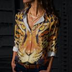 Leopard Cotton And Linen Casual Shirt CH040210