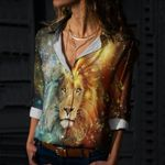 Lion Cotton And Linen Casual Shirt CH040217