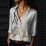 Tiger Cotton And Linen Casual Shirt CH040223