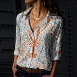 Lobster And Octopuses Cotton And Linen Casual Shirt QA040201
