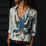 Octopus Cotton And Linen Casual Shirt QA040202