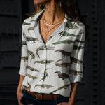 Crocodiles And Alligators Cotton And Linen Casual Shirt QA040209