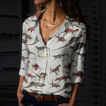Thorny Devil, Common Agama, Flying Dragon, Frilled Lizard Cotton And Linen Casual Shirt QA040211