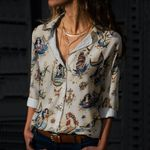 Traditional Tattoo - Nautical - Marine Life Cotton And Linen Casual Shirt KH040202