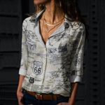 Route 66 - Historic Road Cotton And Linen Casual Shirt KH040205