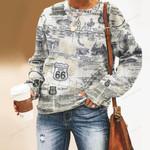 Route 66 - Historic Road Unisex All Over Print Cotton Sweatshirt KH040205