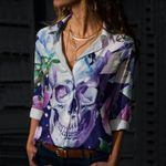 Skull Cotton And Linen Casual Shirt CH040224