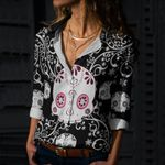 Skull Cotton And Linen Casual Shirt CH040229