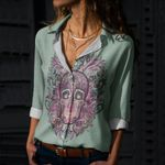 Skull Cotton And Linen Casual Shirt CH040228