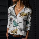 Iguanas Of The World Cotton And Linen Casual Shirt KH020203