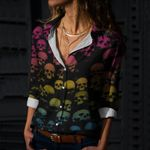 Skull Cotton And Linen Casual Shirt CH040232