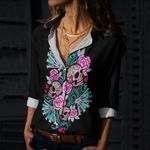 Skull Cotton And Linen Casual Shirt CH040235