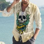 Skull Cotton And Linen Casual Shirt CH040236