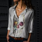 Skull Cotton And Linen Casual Shirt CH040237