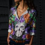 Skull Cotton And Linen Casual Shirt CH050210