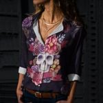 Skull Cotton And Linen Casual Shirt CH050211