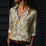 Cute Geckos Cotton And Linen Casual Shirt QA050213