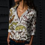 Geckos Of New Caledonia Cotton And Linen Casual Shirt QA050214