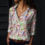 Parrot - Birdwatching - Birds Cotton And Linen Casual Shirt KH050215
