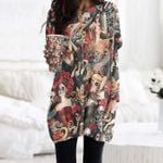 Day Of The Dead Pocket Long Top Women Blouse KH050212