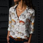 Cute Geckos Cotton And Linen Casual Shirt QA170205
