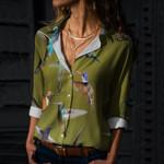 Humming Bird Cotton And Linen Casual Shirt QA170206