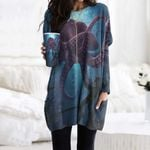 Octopus Pocket Long Top Women Blouse CH170201